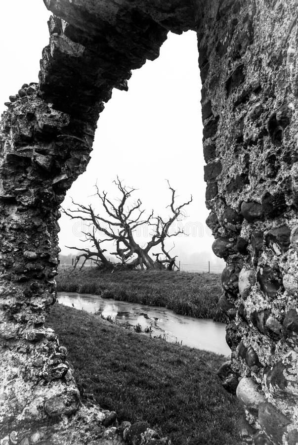 Baconsthorpe Castle, Norfolk, England. An ancient monument in East Anglia, England. A medieval castle on a misty winter`s day royalty free stock photography