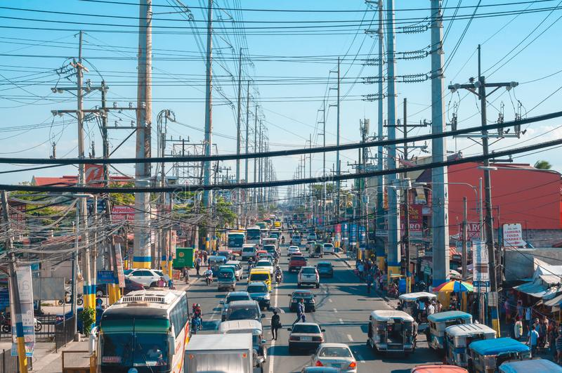 Sunny weather in a busy city of Bacoor, Cavite Philippines. Bacoor, Cavite, Philippines - April 2019 royalty free stock photography