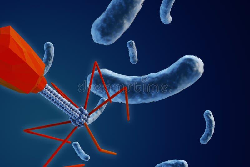 Bactérias de ataque do bacteriófago ilustração royalty free
