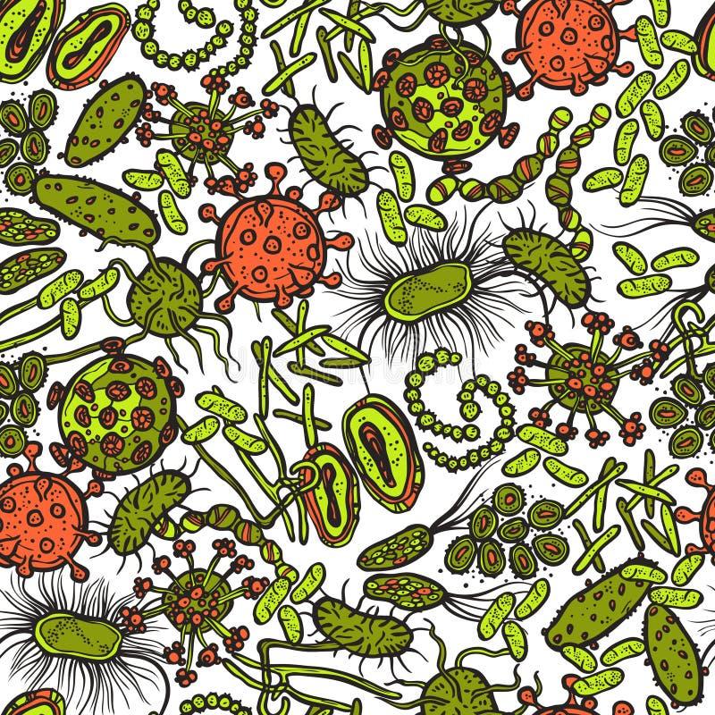 Bactérias e vírus sem emenda ilustração royalty free