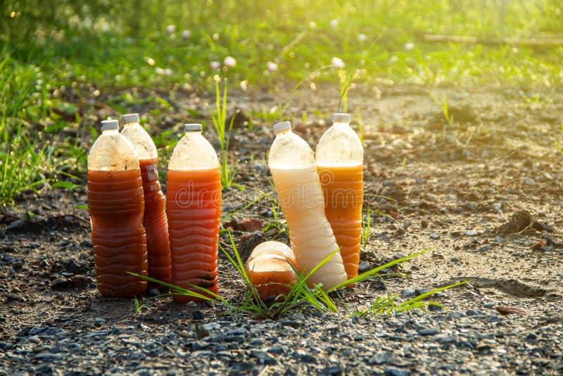 Bactérias fotossintéticas PSB em umas garrafas plásticas para a agricultura orgânica imagem de stock royalty free