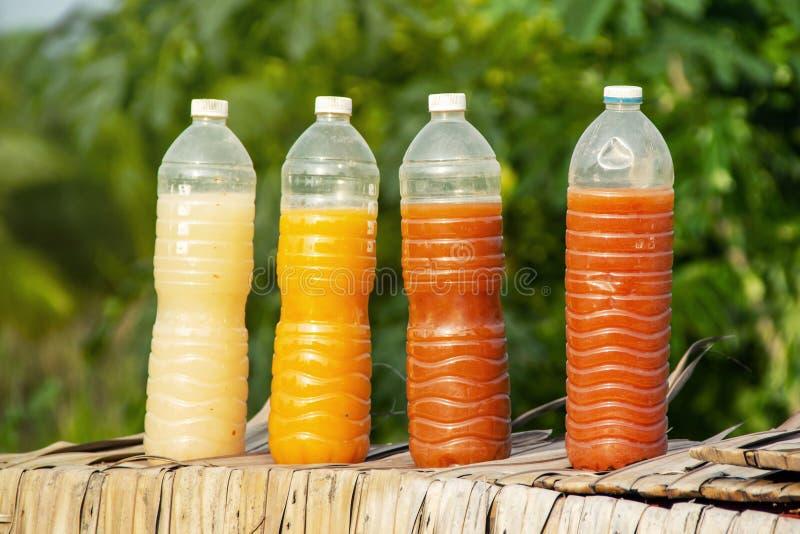 Bactérias fotossintéticas PSB em umas garrafas plásticas para a agricultura orgânica imagens de stock royalty free
