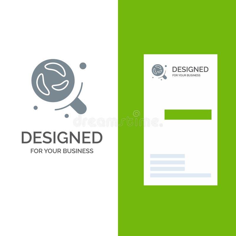 Bactérias, laboratório, pesquisa, ciência Grey Logo Design e molde do cartão ilustração royalty free