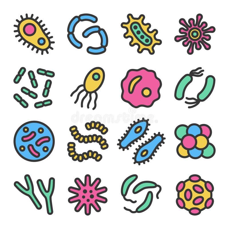 Bactérias, micróbio, ícone colorido do vetor do vírus ajustado com esboço ilustração royalty free