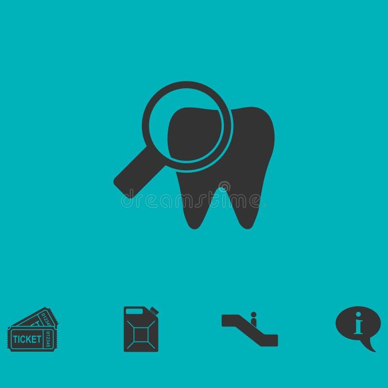 Bactérias no plano do ícone do dente ilustração do vetor