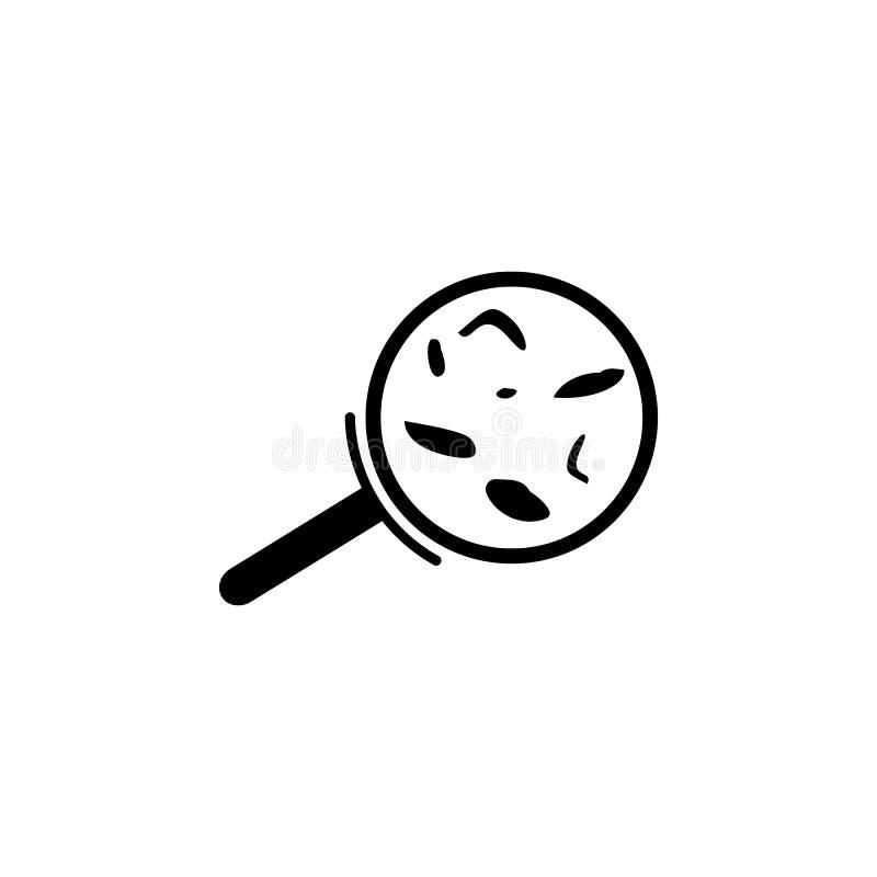 Bactérias sob um ícone da lupa Elemento de ícones dos instrumentos médicos Ícone superior do projeto gráfico da qualidade Sinais, ilustração royalty free