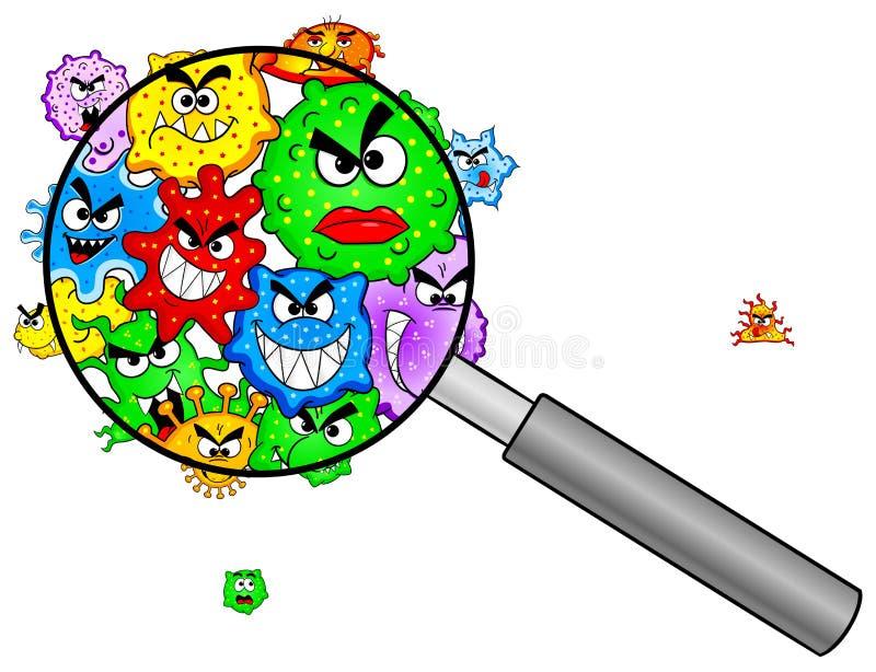 Bactérias sob uma lupa ilustração stock