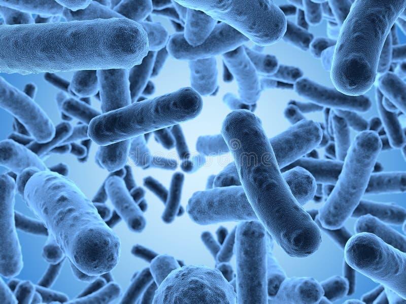 Bactérias vistas sob um microscópio de exploração ilustração do vetor