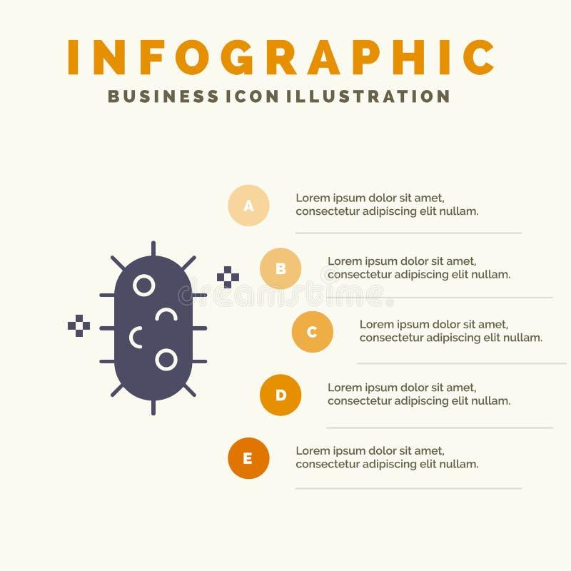 Bactéries, biochimie, biologie, fond solide de présentation d'étapes d'Infographics 5 d'icône de chimie illustration stock