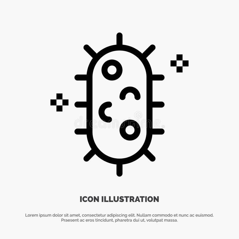 Bactéries, biochimie, biologie, ligne vecteur de chimie d'icône illustration stock