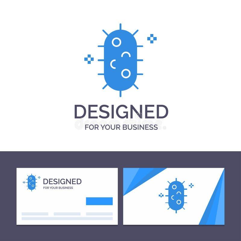 Bactéries de visite de calibre créatif de carte de visite professionnelle et de logo, biochimie, biologie, illustration de vecteu illustration stock