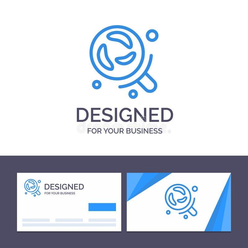 Bactéries de visite de calibre créatif de carte de visite professionnelle et de logo, laboratoire, recherche, illustration de vec illustration de vecteur