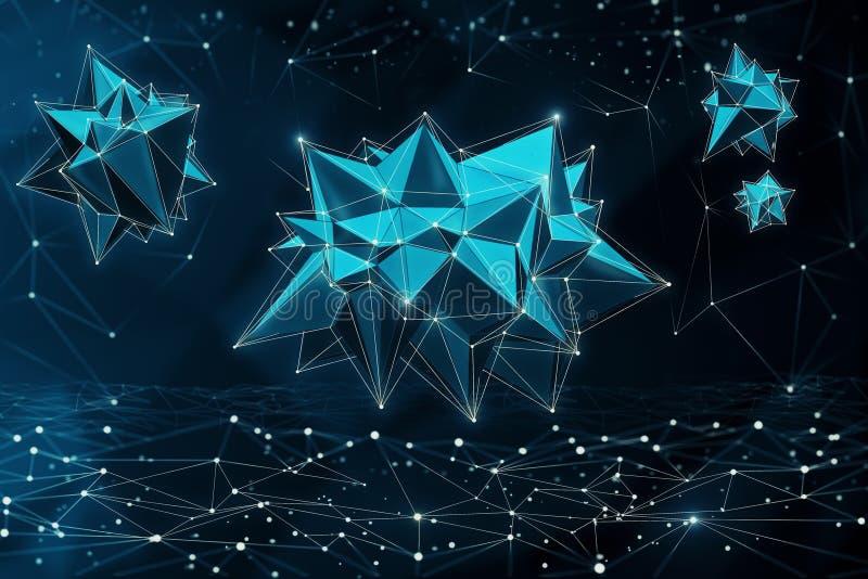 Bactéries polygonales abstraites illustration de vecteur