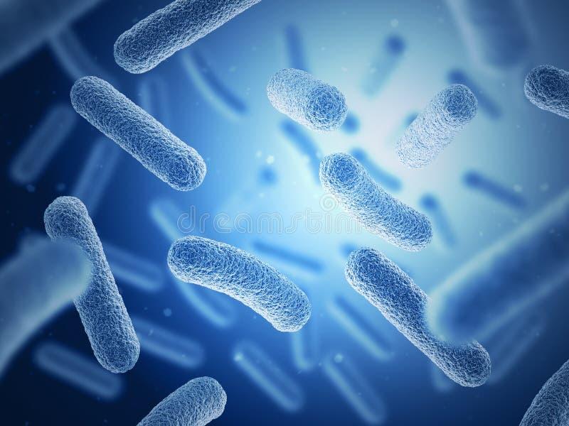 Bactéries sur le fond bleu illustration 3D illustration libre de droits
