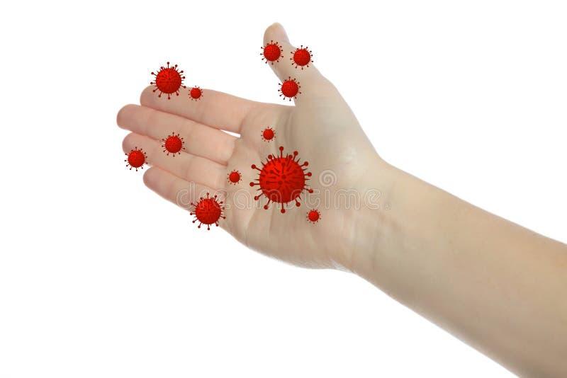 Bacteriële handen royalty-vrije stock afbeeldingen