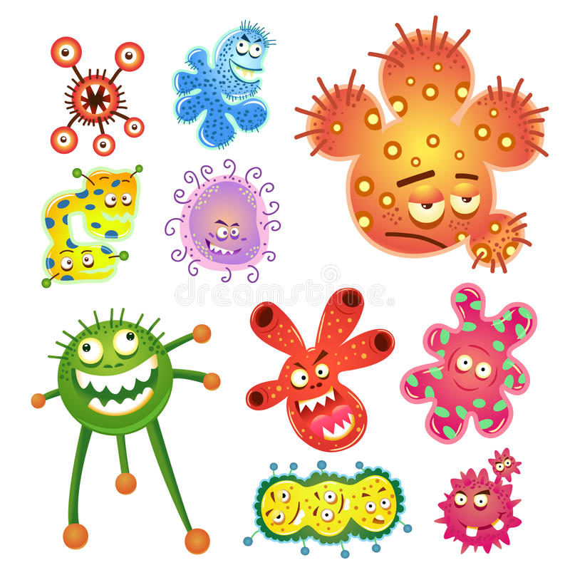 Bacteriën en virusbeeldverhaal stock illustratie
