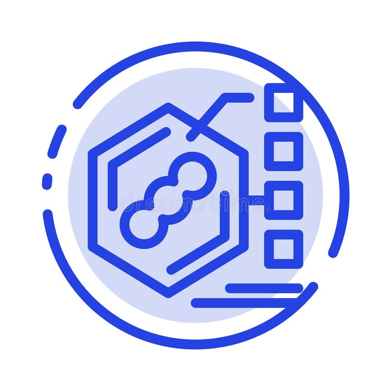 Bacteria, Biochemical, Examination, Form, Life Blue Dotted Line Line Icon stock illustration