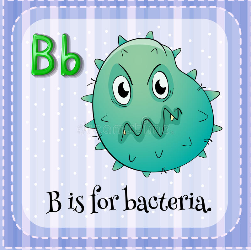 Bacteria. Flashcard letter B is for bacteria stock illustration