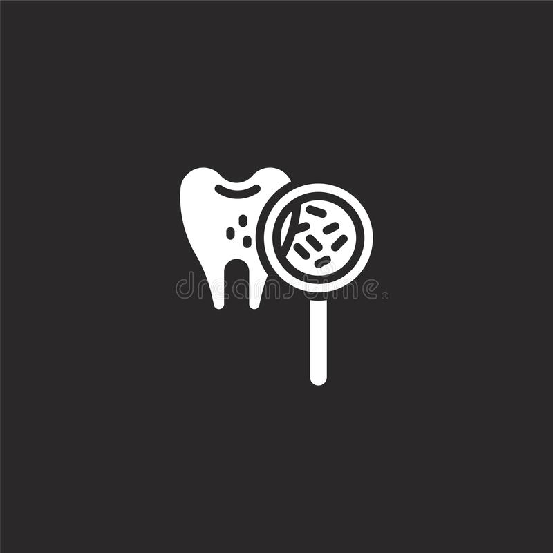 Bacteria icon. Filled bacteria icon for website design and mobile, app development. bacteria icon from filled dental collection. Isolated on black background stock illustration