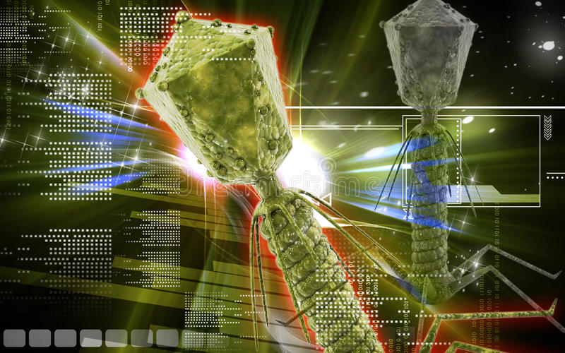 Bacteria phage. Digital illustration of Bacteria phage in colour background royalty free illustration