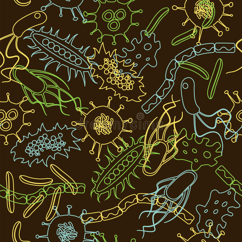 Bacteria seamless pattern royalty free stock images