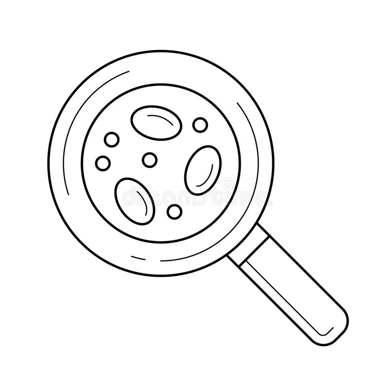 Bacteria under magnifying glass line icon. royalty free illustration
