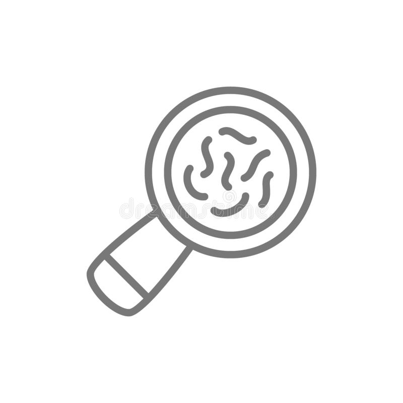 Bacteria under magnifying glass line icon. vector illustration