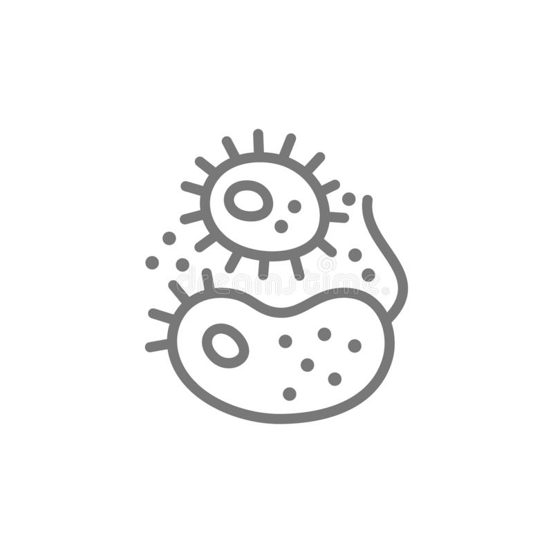 Bacteria, viruses, germs line icon. stock illustration