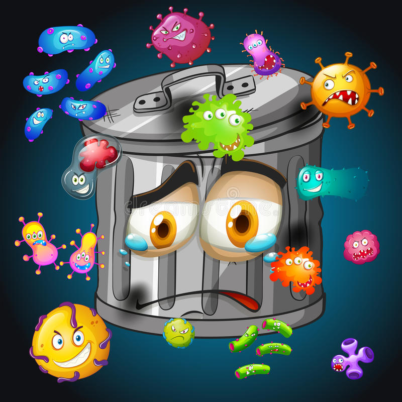 Bacterias alrededor del trashcan stock de ilustración