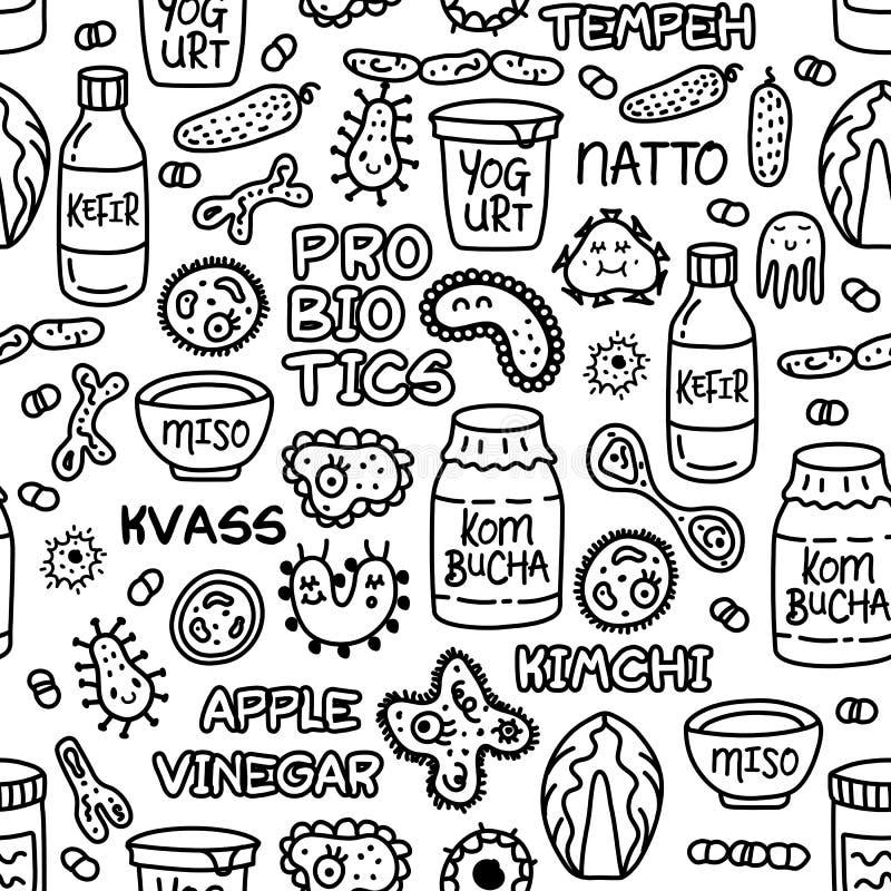 Bacterias comida de Probiotics y fondo inconsútil del modelo de la medicina ilustración del vector