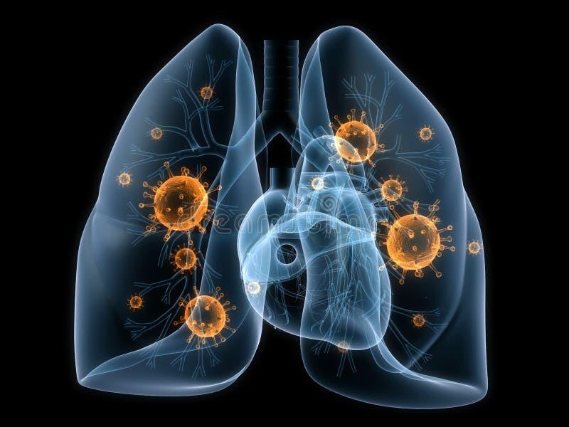 Bacterias del pulmón stock de ilustración