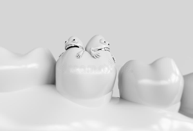 Bacterias humanas de la historieta del diente Las bacterias de la carie comen los dientes - representación 3D foto de archivo