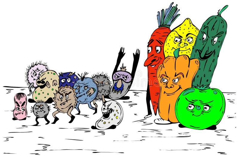 Bacterias y fruta stock de ilustración