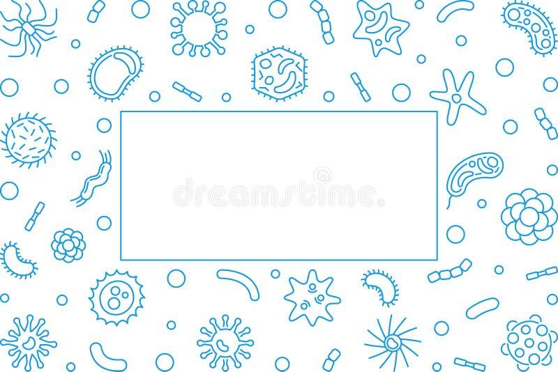 Bacteriology blue horizontal frame - vector concept illustration. Bacteriology blue horizontal frame with empty space for text - vector concept illustration stock illustration
