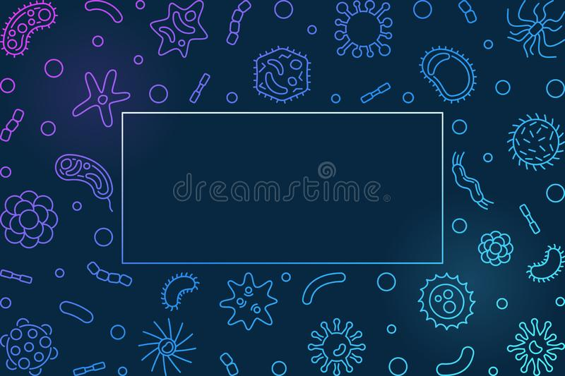 Bacteriology blue horizontal frame - vector outline illustration. Bacteriology blue horizontal frame with place for your text - vector concept illustration vector illustration