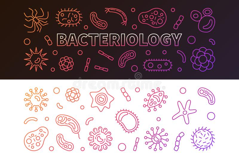 Bacteriology colorful banners set. Vector outline illustration. Bacteriology colorful horizontal banners set. Vector concept outline illustration royalty free illustration