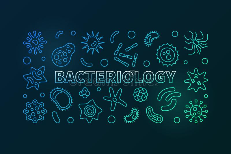 Bacteriology colorful line banner. Vector bacteria illustration. Bacteriology colorful horizontal banner. Vector bacteria and contaminants concept illustration royalty free illustration