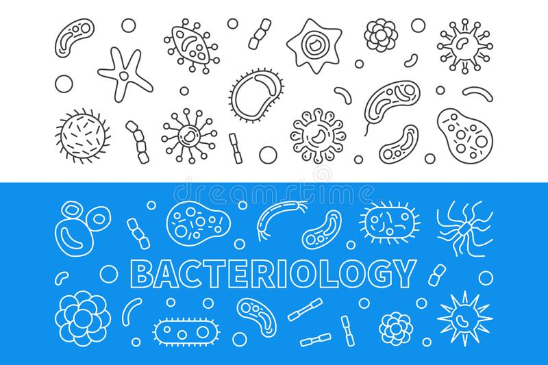 Bacteriology horizontal outline banners. Vector illustration. Bacteriology horizontal outline banners set. Vector concept illustration stock illustration