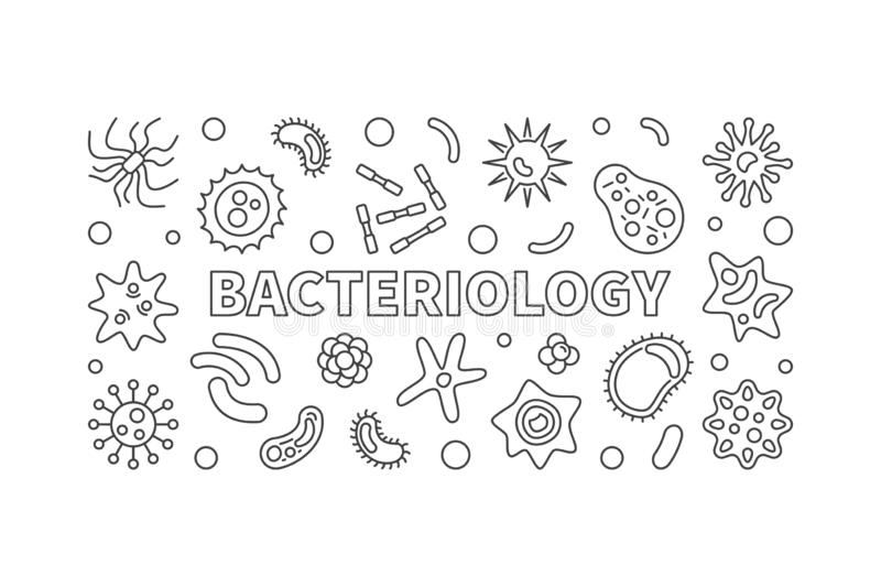 Bacteriology line banner. Vector bacteria illustration. Bacteriology horizontal banner. Vector bacteria and contaminants concept illustration in outline style royalty free illustration