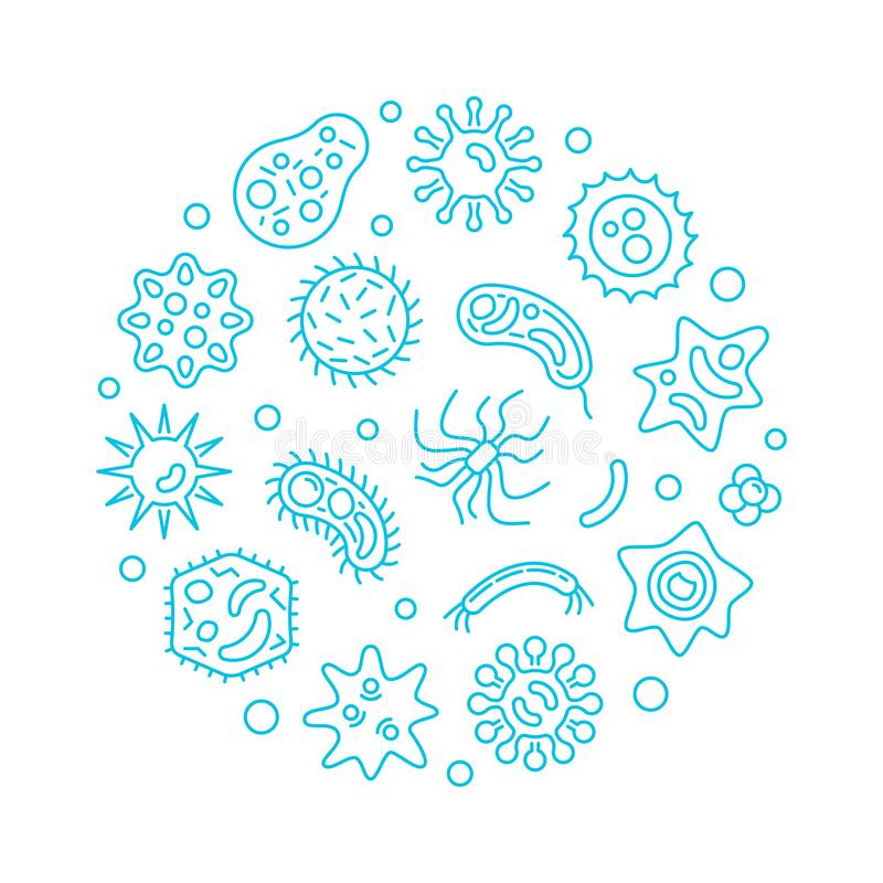 Bacteriology and microbiology round vector blue illustration. Bacteriology and microbiology round vector concept blue illustration in outline style on white stock illustration
