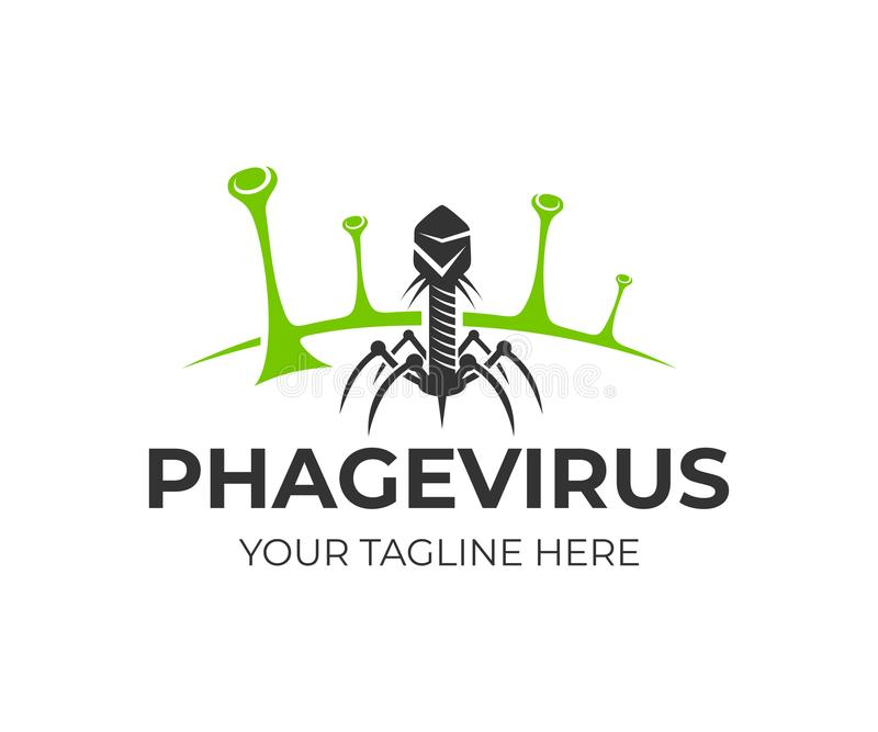 Bacteriophage and phage virus on bacteria, logo design. Healthcare, medical and scientific research, vector design. And illustration vector illustration