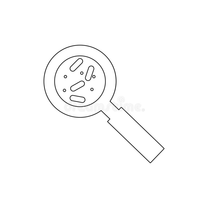 bacterium under a magnifying glass outline icon. Element of virus icon. Premium quality graphic design icon. Signs and symbols vector illustration
