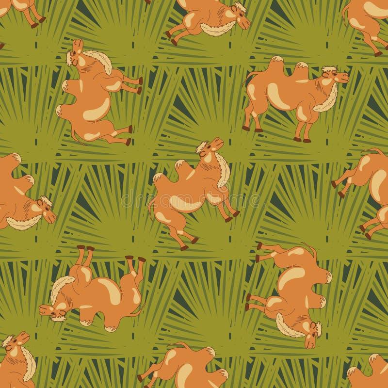Bactrische kamelen op groene bladeren stock illustratie