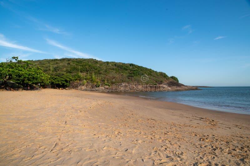 Bacutia Beach Vitoria ES in Guarapari Brazil. Bacutia Beach Vitoria Brazil vacation sun royalty free stock photo