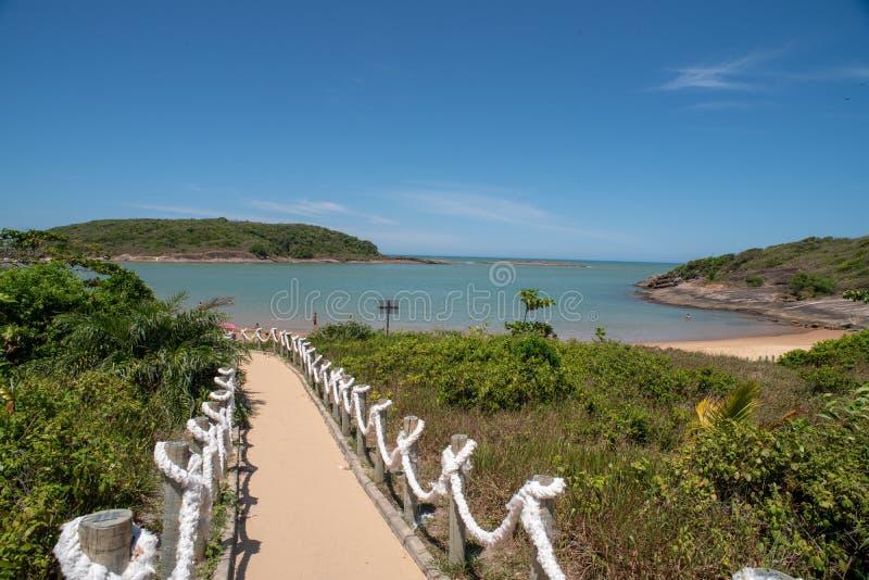 Bacutia strand Vitoria ES i Guarapari Brasilien fotografering för bildbyråer