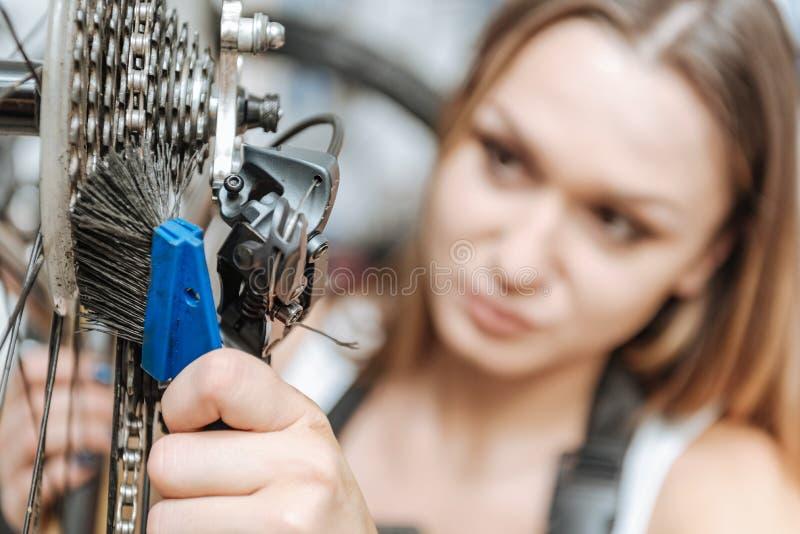 Baczny pracowity technik szczotkuje łańcuch bicykl zdjęcie royalty free
