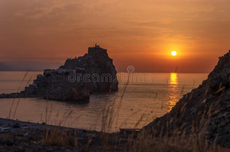 Sunset on the sea. The badés castle, Alhoceima - Morocco royalty free stock images