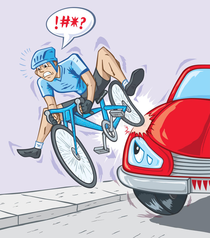 Kid Riding A Bicycle In An Accident With A Car Stock Vector