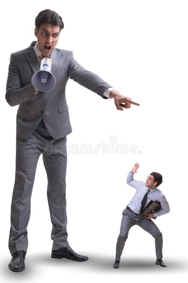Bad angry boss shouting at employee with loudspeaker. The bad angry boss shouting at employee with loudspeaker royalty free stock images
