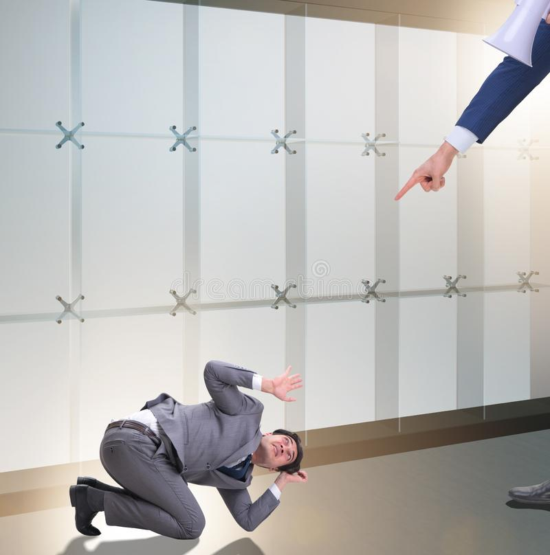 Bad angry boss shouting at employee with loudspeaker. The bad angry boss shouting at employee with loudspeaker stock photos